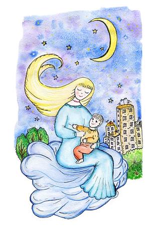 Mère et enfant sur un nuage dans le ciel au-dessus de la ville dans la nuit figure de fantaisie, la mère chante une berceuse à son fils sur les nuages Banque d'images - 88150566