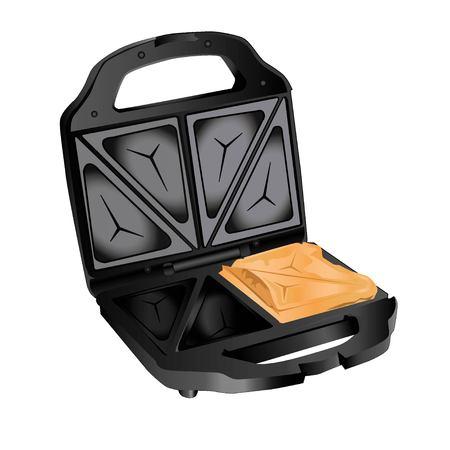 안에 열려 샌드위치와 흰색 배경에 검은 샌드위치 토스터
