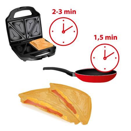 sedící: Černá sendvičová toustovač na bílém pozadí, otevřená sendvičem uvnitř pánve a doba ohřevu v nich, sendviče Sedici se šunkou a sýrem