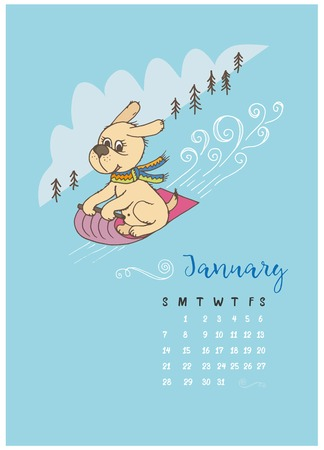 Dog in a scarf on a sled rolls down from the mountain, a calendar for the month of January 2018 Illustration