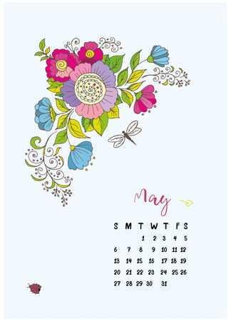 the calendar month of may 2018, a bouquet of flowers, leaves and swirls and a dragonfly with the bug on a blue background