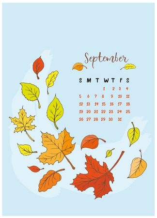 month calendar September 2018, the yellow leaves fly, a leaf fall, the maple tree and the wind