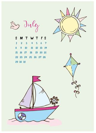 calendar for the month of July 2018, the boat with a sail at sea, a kite and colored the sun with rays and a dove