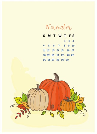 The month calendar November, the leaves yellow and branches, pumpkins and squash, harvest, yellow background