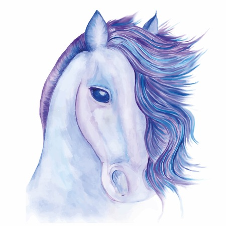 La cabeza de un caballo con melena en desarrollo pintada con acuarelas en tonos de azul Foto de archivo - 91030606
