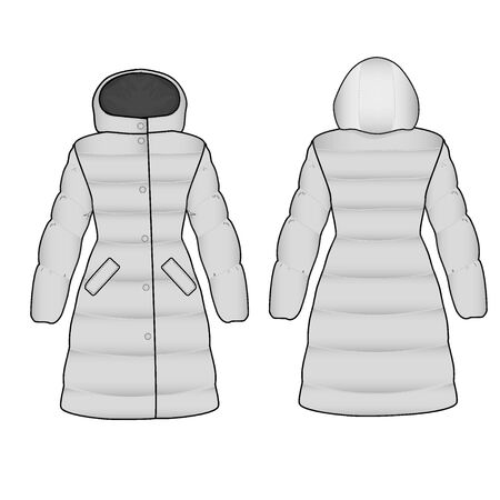 The sketch womens snow jacket hooded Illustration