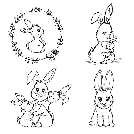 Doodle cute little rabbits together and one by one