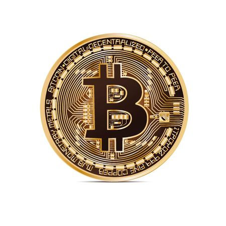 Bitcoin gold with the brown coin on white background in vector