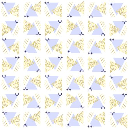 Pattern triangles from points of gold and triangles violet both strips and pluses a scribble.