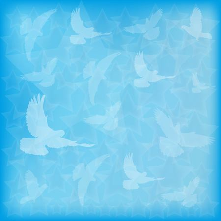 Blue blurred background birds doves silhouettes and stars of different sizes.
