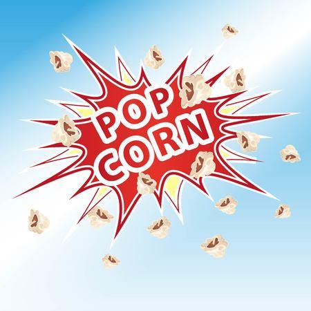 Popcorn blast with the inscription popcorn  イラスト・ベクター素材