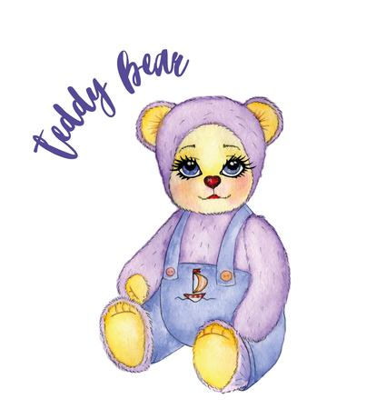 Toy baby bear cute pants with expressive eyes in watercolor