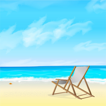 Vetor image of the blue sky with clouds, the sea and a beach wooden chair on the beach. Illustration