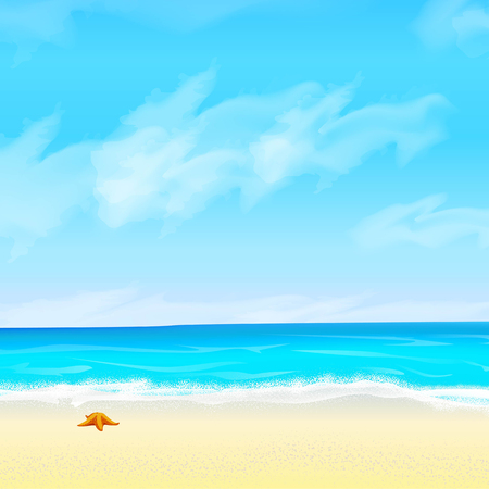 shore of the sea foam and starfish sky and clouds Vector illustration. Illustration