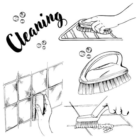 Doodle cleaning brush and sponge and hand Illustration