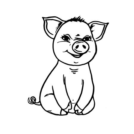Doodle pig sitting and smiling black outline on white background Ilustração