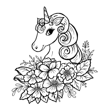 Doodle cute unicorn head in colors black on white Çizim