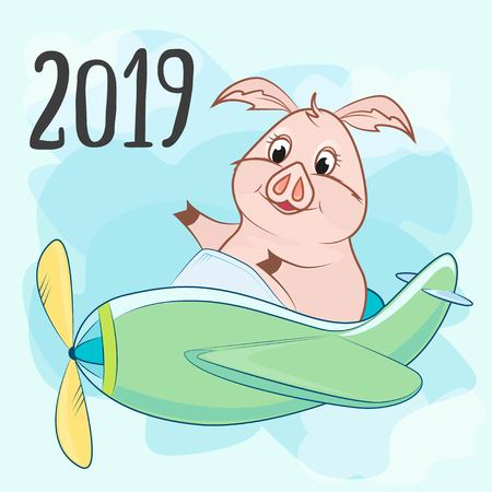 toy plane with a propeller and a pig, the inscription 2019 in the blue sky Illustration