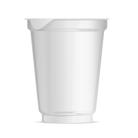 Layout plastic Cup, food packaging for yogurt and jams, ready-made template