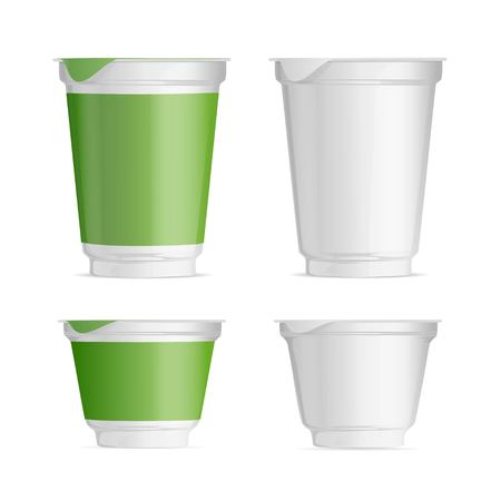 set of plastic Cup Layouts, food packaging for yogurt and jams, ready-made template