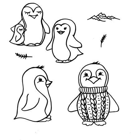 Doodle penguins cute black outline on white 写真素材 - 108939387