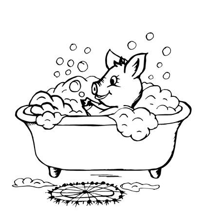 Doodle Schweinchen nimmt ein Bad und spielt mit Seifenblasen