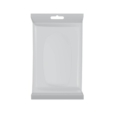 Wet wipes layout, with opening window transparent on white background Vectores