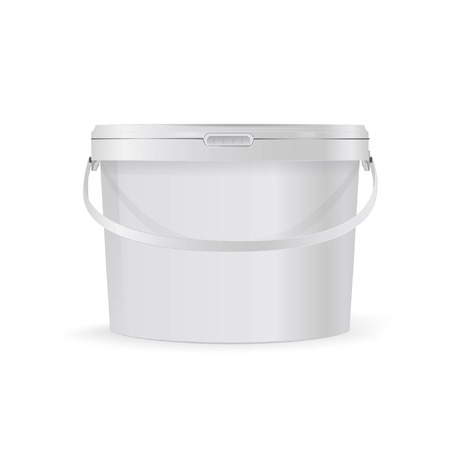 plastic bucket with handle layout, on white background