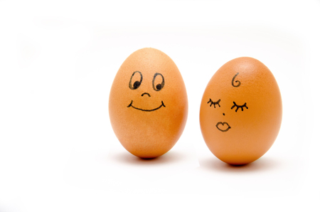 Eggs with painted emotions, psychology of feelings of sympathy and ignoring on a white background, with space for text, throw away focus