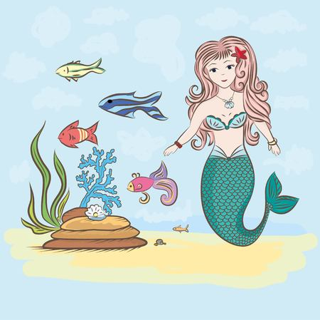mermaid and fish, rocks and seaweed shell with pearl in color
