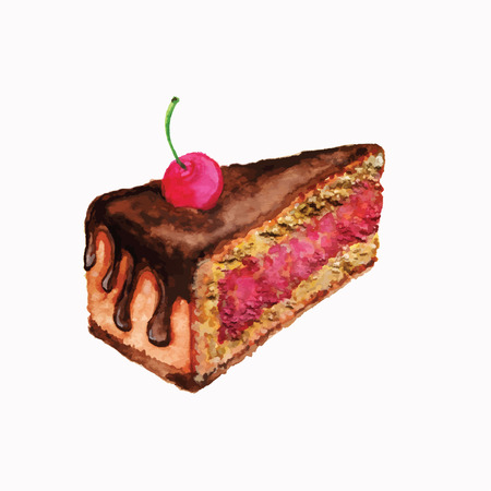 Cake with cherries, watercolor design element of cake, piece of cake