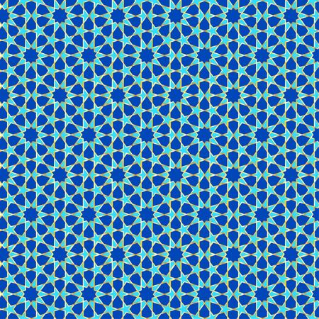 Muslim geometric pattern in blue green tones and gold outline Çizim