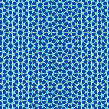 Muslim geometric pattern in blue green tones and gold outline Ilustração