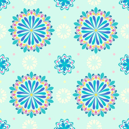Beautiful colorful mandala flower pattern. Mandala vector on a pastel color backdrop. Rainbow mandala seamless. Beautiful ethnic ornament. eps10. Hand drawn indian ornament.
