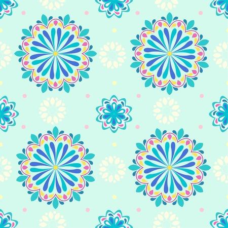 Beautiful colorful mandala flower pattern. Mandala vector on a pastel color backdrop. Rainbow mandala seamless. Beautiful ethnic ornament. eps10. Hand drawn indian ornament.