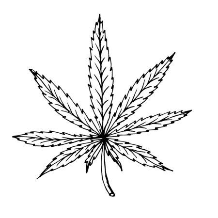 Doodle cannabis leaf hand drawn black outline