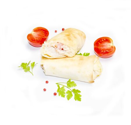 cut Shawarma or Donar and cut tomato selective focus white background