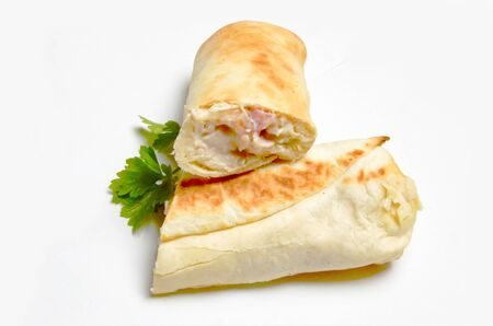 cut Shawarma or Donar selective focus white background Stock Photo