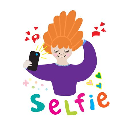 illustration of a girl with her hair makes selfie likes and the inscription