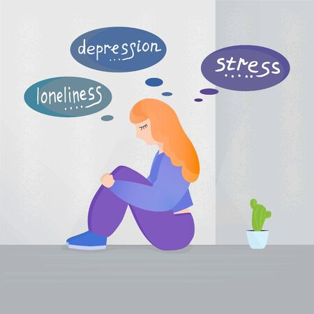 girl sitting in the corner hugging his legs over her thoughts of stress loneliness and depression. Concept of illustrations about psychological bad States of the person Stock fotó - 134540736