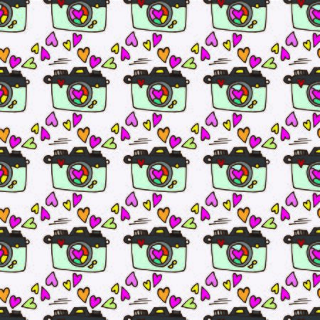 cute Doodle pattern camera with heart fly out of the jar