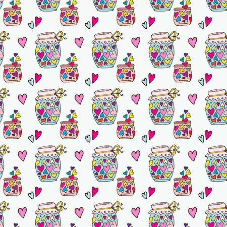 Doodle pattern cans with heart fly out of the jar Çizim