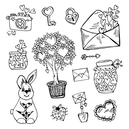 Doodle elements of Valentine day love hearts and letters, photo, flower, tree, hare, love lock and key on white background Ilustração