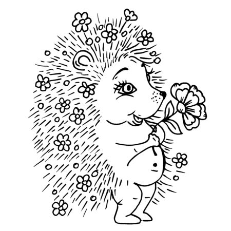 Doodle cute hedgehog with a flower and flowers in needles black outline on a white background