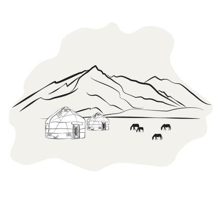 silhouette of a mountain yurt and horse Illusztráció