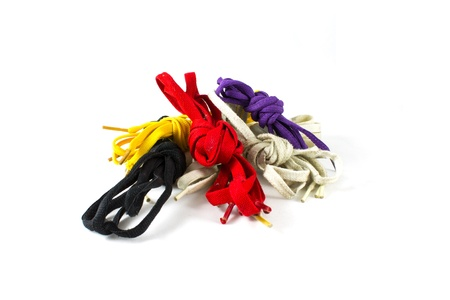 shoestrings: Colour shoelace, white, purple, black, yellow,  isolated on white background