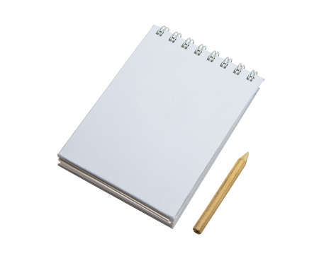 Spiral note pad and pencil isolate on white background  photo