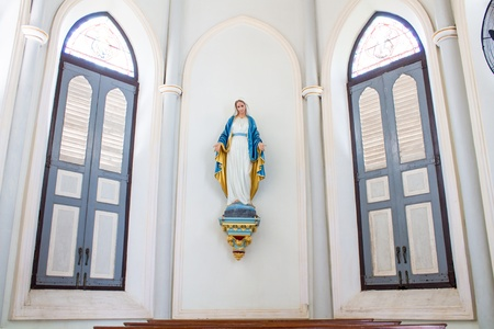 A statue representing the Virgin Mary  Our Lady of Nativity Cathedral , The Church of the Virgin Mary of Asanawihan Maephrabangkerd, Samut Songkhram photo