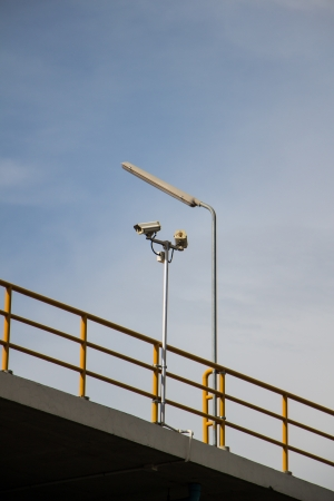 corbel: CCTV security cams at carpark and blue sky