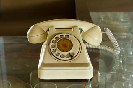 Retro Phone On The Glass photo